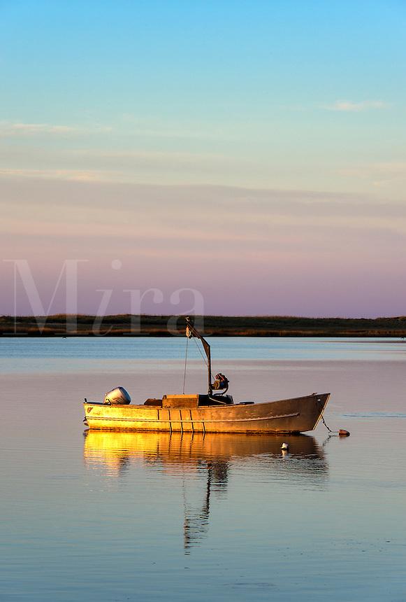 Small motorboat, Crackatuxet Cove, South Beach, Martha's Vineyard, Massachusetts, USA