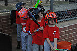 The Reds vs. Indians in Oxford Park Commission coach pitch baseball at FNC Park in Oxford, Miss. on Monday, April 18, 2016.