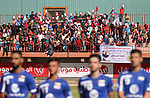 Palestinian fans attend the first leg football match of the Palestine Cup final between Hilal al-Quds football club and Shabab Khan Younis football club at the Palestine Stadium in Gaza City on June 20, 2018. Photo by Mahmoud Ajour