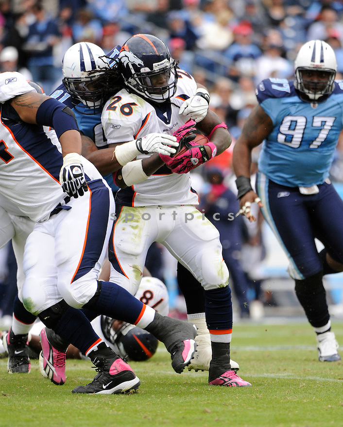 LAURENCE MARONEY, of the Denver Broncos  in action during the Broncos game against  Tennessee Titans the on October 3, 2010 at LP Field in Nashville, Tennesse...THE Denver Broncos  beat theTennessee Titans 26-20