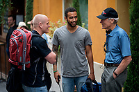 The 15:17 to Paris (2018) <br /> SPENCER STONE, ANTHONY SADLER and director/producer CLINT EASTWOOD on the set of <br /> *Filmstill - Editorial Use Only*<br /> CAP/KFS<br /> Image supplied by Capital Pictures