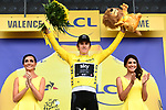 Race leader Geraint Thomas (WAL) Team Sky retains the Yellow Jersey at the end of Stage 13 of the 2018 Tour de France running 169.5km from Bourg d'Oisans to Valence, France. 20th July 2018. <br /> Picture: ASO/Alex Broadway | Cyclefile<br /> All photos usage must carry mandatory copyright credit (© Cyclefile | ASO/Alex Broadway)