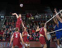 STANFORD, CA - March 2, 2019: Jordan Ewert, Paul Bischoff, Jaylen Jasper at Maples Pavilion. The Stanford Cardinal defeated BYU 25-20, 25-20, 22-25, 25-21.