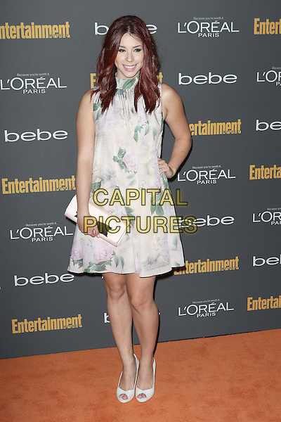 Jillian Rose Reed<br /> 2013 Entertainment Weekly Pre-Emmy Party held at Fig &amp; Olive Melrose Place, West Hollywood, California, USA, <br /> 20th September 2013.<br /> full length green white print dress hand on hip <br /> CAP/ADM/MPI<br /> &copy;MediaPunch Inc./AdMedia/Capital Pictures