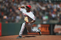 SAN FRANCISCO, CA - MAY 16:  Raisel Iglesias #26 of the Cincinnati Reds pitches against the San Francisco Giants during the game at AT&T Park on Wednesday, May 16, 2018 in San Francisco, California. (Photo by Brad Mangin)