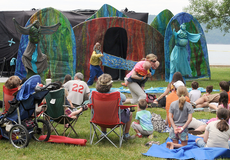 """Arm-of-the-Sea Mask and Puppet Theater troupe, performing """"The Rejuvenary River Circus,""""  near the river's edge, on the second day of the Clearwater's Great Hudson River Revival Festival 2013, held at Croton Point Park, in Croton-on-Hudson, NY, June 16, 2013. Photo by Jim Peppler. Copyright Jim Peppler 2013 all rights reserved."""