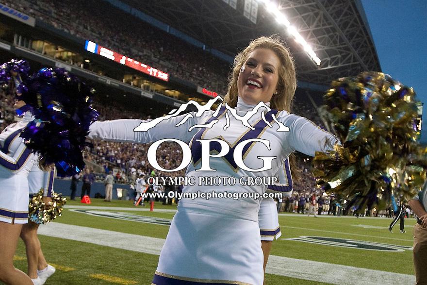 Sept 01, 2012:  Washington cheerleader Hannah Tripp against San Diego State.  Washington defeated San Diego State 21-12 at CenturyLink Field in Seattle, Washington...