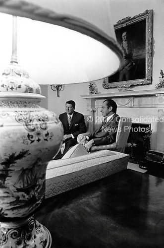 California Governor Ronald Reagan meets U.S. President Richard M. Nixon in the Oval Office at the White House on November 17, 1971..