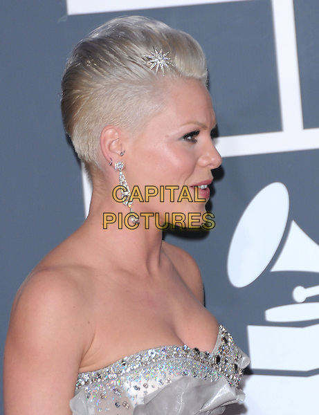 PINK (ALECIA MOORE) .Arrivals at the 52nd Annual GRAMMY Awards held at The Staples Center in Los Angeles, California, USA..January 31st, 2010.grammys headshot portrait bare shoulders strapless piink pinnk  silver dangling earrings profile silver beads beaded .CAP/RKE/DVS.©DVS/RockinExposures/Capital Pictures