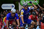 Marcel Kittel (GER) Quick-Step Floors wins the bunch sprint for the finish line of Stage 2 of the 104th edition of the Tour de France 2017, running 203.5km from Dusseldorf, Germany to Liege, Belgium. 2nd July 2017.<br /> Picture: ASO/Pauline Ballet | Cyclefile<br /> <br /> <br /> All photos usage must carry mandatory copyright credit (&copy; Cyclefile | ASO/Pauline Ballet)