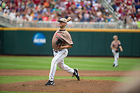Connor Jones (33) of the Virginia Cavaliers pitches during a game between the Virginia Cavaliers and Arkansas Razorbacks at TD Ameritrade Park on June 13, 2015 in Omaha, Nebraska. (Brace Hemmelgarn/Four Seam Images)