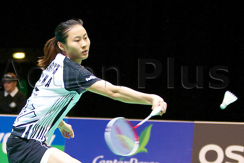 10.03.2012 Birmingham, England. Wang Yihan (CHN) in action during the Yonex All England Open Badminton Championships at the National Indoor Arena.
