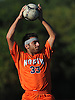 Julien Hakimian #33 of Great Neck North throws a ball in from the sidelines during a Nassau County Conference A1 varsity boys soccer game against host Garden City High School on Monday, Sept. 12, 2016. The game ended in a scoreless tie.