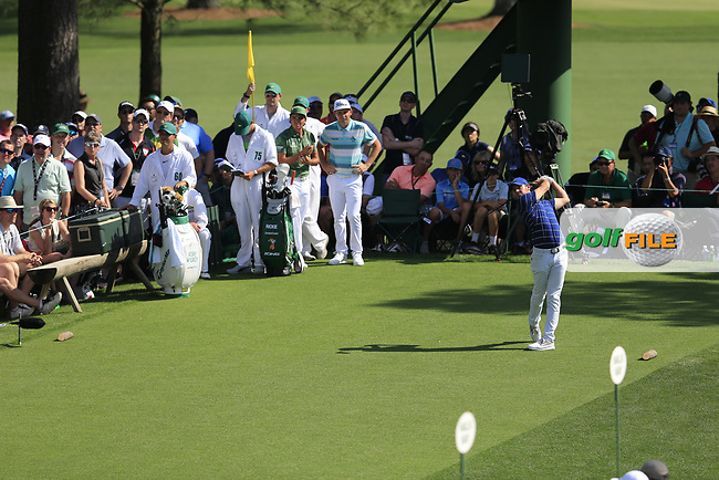 Rory McIlroy (NIR) on the 18th tee during the 1st round at the The Masters , Augusta National, Augusta, Georgia, USA. 11/04/2019.<br /> Picture Fran Caffrey / Golffile.ie<br /> <br /> All photo usage must carry mandatory copyright credit (© Golffile | Fran Caffrey)