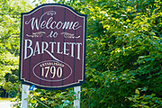 Welcome to Bartlett sign along Route 302 in Bartlett, New Hampshire in the White Mountains.