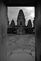 Siam Reap, Cambodia, Moonrise at temple,Black and White image