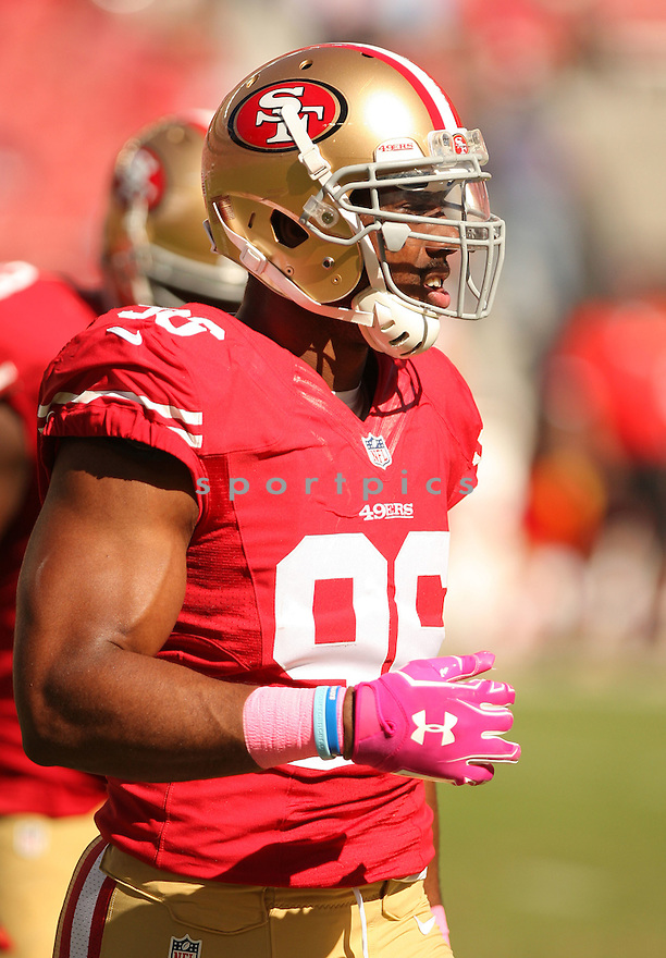 San Francisco 49ers Corey Lemonier (96) during a game against the Kansas City Chiefs on October 5, 2014 at Levi's Stadium in Santa Clara, CA. the 49ers beat the Chiefs 22-17.