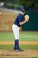 Northwest Arkansas Naturals relief pitcher Sam Selman (17) gets ready to deliver a pitch during a game against the Midland RockHounds on May 27, 2017 at Arvest Ballpark in Springdale, Arkansas.  NW Arkansas defeated Midland 3-2.  (Mike Janes/Four Seam Images)