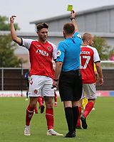 Fleetwood Town's Wes Burns is shown a yellow card by Referee Ollie Yates<br /> <br /> Photographer David Shipman/CameraSport<br /> <br /> The EFL Sky Bet League One - Oxford United v Fleetwood Town - Saturday August 11th 2018 - Kassam Stadium - Oxford<br /> <br /> World Copyright &copy; 2018 CameraSport. All rights reserved. 43 Linden Ave. Countesthorpe. Leicester. England. LE8 5PG - Tel: +44 (0) 116 277 4147 - admin@camerasport.com - www.camerasport.com