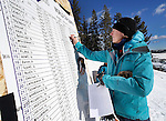 LEAD, SD - JANUARY 31, 2016 -- Betsy Sayler of Spearfish, S.D. updates the scoreboard during the 2016 USSA Northern Division Ski Races at Terry Peak Ski Area near Lead, S.D. Sunday. (Photo by Richard Carlson/dakotapress.org)