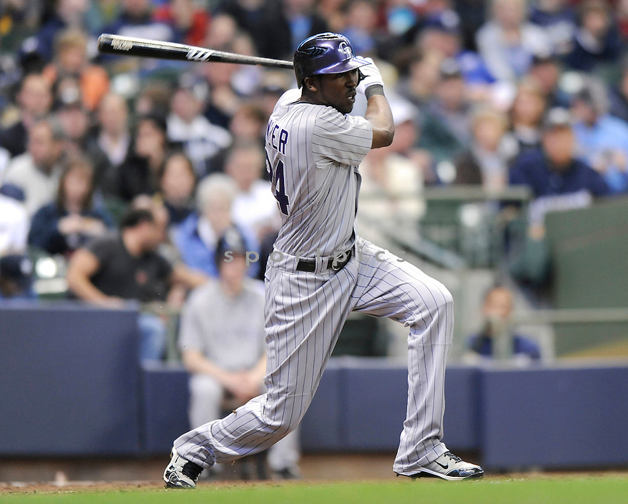 DEXTER FOWLER, of the Colorado Rockies, in action during the Rockies game against the Milwaukee Brewers at Miller Park in Milwaukee, WI  on April 7, 2010...The Brewers win 5-4.