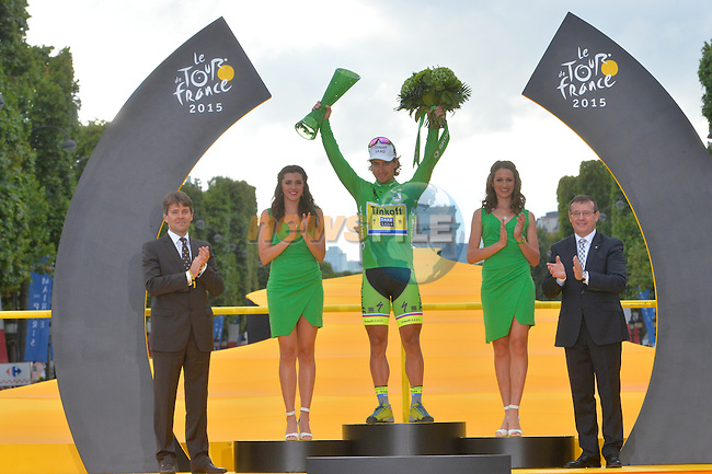 Green Jersey winner Peter Sagan (SVK) Tinkoff-Saxo on the podium in Paris at the end of Stage 21 of the 2015 Tour de France running 109.5km from Sevres to Paris - Champs Elysees, France. 26th July 2015.<br /> Photo: ASO/B.Bade/Newsfile