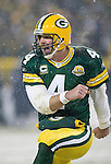Quarterback Brett Favre #4 of the Green Bay Packers celebrates a touchdown against the Seattle Seahawks during the NFC divisional playoff game at Lambeau Field on January 12, 2008 in Green Bay, Wisconsin. The Packers beat the Seahawks 42-20. (AP Photo/David Stluka)