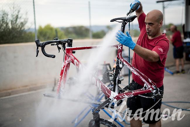post-race bike cleaning & check at the Team Katusha-Alpecin hotel<br /> <br /> Stage 6: Mora de Rubielos to Ares del Maestrat (199km)<br /> La Vuelta 2019<br /> <br /> ©kramon
