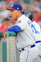 Luis Salazar watches from the dugout at Smokies Park June 11, 2009  in Sevierville, TN (Photo by Tony Farlow/ Four Seam Images)