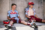 Matteo Fabbro (ITA) and Steff Cras (BEL) Katusha Alpecin wasted after crossing the finish line at the end of Stage 5 of the 10th Tour of Oman 2019, running 152km from Samayil to Jabal Al Akhdhar (Green Mountain), Oman. 20th February 2019.<br /> Picture: ASO/P. Ballet | Cyclefile<br /> All photos usage must carry mandatory copyright credit (&copy; Cyclefile | ASO/P. Ballet)