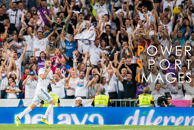Karim Benzema of Real Madrid celebrates during their Supercopa de Espana Final 2nd Leg match between Real Madrid and FC Barcelona at the Estadio Santiago Bernabeu on 16 August 2017 in Madrid, Spain. Photo by Diego Gonzalez Souto / Power Sport Images