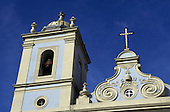 Salvador, Bahia State, Brazil. Colonial church in pastel blue and cream on a sunny day in Pelourinho.