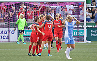 Portland, OR - Saturday August 19, 2017: Thorns celebrate a goal during a regular season National Women's Soccer League (NWSL) match between the Portland Thorns FC and the Houston Dash at Providence Park.