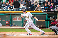 Grant Green (7) of the Salt Lake Bees at bat against the Sacramento River Cats in Pacific Coast League action at Smith's Ballpark on April 17, 2015 in Salt Lake City, Utah.  (Stephen Smith/Four Seam Images)