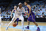 30 December 2014: North Carolina's Stephanie Mavunga (1) and Albany's Tiana-Jo Carter (33). The University of North Carolina Tar Heels hosted the University at Albany Great Danes at Carmichael Arena in Chapel Hill, North Carolina in a 2014-15 NCAA Division I Women's Basketball game. UNC won the game 71-56.