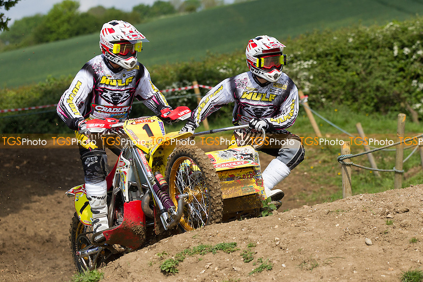 Stuart Brown and Josh Chamberlain early in practice during ACU British Sidecar Cross Championship Round Three at Wattisfield Hall MX Track on 22nd May 2016