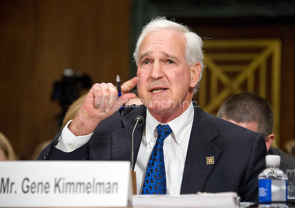 """Gene Kimmelman, President & Chief Executive Officer, Public Knowledge, gives testimony before the United States Senate Committee on the Judiciary Subcommittee on Antitrust, Competition Policy & Consumer Rights during the hearing """"Examining the Competitive Impact of the AT&T-Time Warner Transaction"""" on Capitol Hill in Washington, DC on Wednesday, December 7, 2016.<br /> Credit: Ron Sachs / CNP /MediaPunch"""