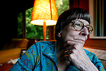 Novelist Jane Rule,76, sits in her favorite arm chair in her home on Galiano Island, British Columbia. Rule, who is frank and open about her lesbianism, has received the Order of Canada for her writing. Photo assignment for the Globe and Mail national newspaper in Canada.