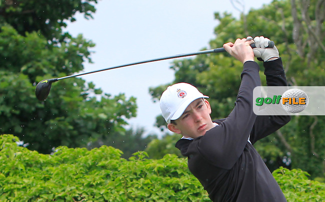 Peter Clark (Royal Portrush) on the 1st tee during R2 of the 2016 Connacht U18 Boys Open, played at Galway Golf Club, Galway, Galway, Ireland. 06/07/2016. <br /> Picture: Thos Caffrey | Golffile<br /> <br /> All photos usage must carry mandatory copyright credit   (&copy; Golffile | Thos Caffrey)