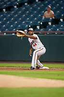 Bowie Baysox first baseman Aderlin Rodriguez (44) stretches to receive a throw during the second game of a doubleheader against the Trenton Thunder on June 13, 2018 at Prince George's Stadium in Bowie, Maryland.  Bowie defeated Trenton 10-1.  (Mike Janes/Four Seam Images)