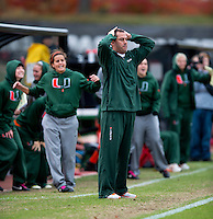 Miami head coach Tom Anagnost reacts to a missed shot during the game at Ludwig Field in College Park, MD.  Maryland defeated Miami, 2-1, in overtime.