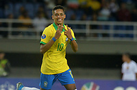 PEREIRA - COLOMBIA, 22-01-2020: Pedrinho Pedro Delmino de Brasil celebra después de anotar el primer gol de su equipo durante partido entre Brasil y Uruguay por la fecha 2, grupo B, del CONMEBOL Preolímpico Colombia 2020 jugado en el estadio Hernan Ramirez Villegas en Pereira, Colombia. / Pedrinho Pedro Delmino of Brazil celebrates after scoring the first goal of his team during the match between Brazil and Uruguay for the date 2, group B, for the CONMEBOL Pre-Olympic Tournament Colombia 2020 played at Hernan Ramirez Villegas stadium in Pereira, Colombia. Photo: VizzorImage / Cristian Alvarez / Cont