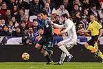Real Madrid's Nacho Fernandez and Real Sociedad's Mikel Oyarzabal during La Liga match between Real Madrid and Real Sociedad at Santiago Bernabeu Stadium in Madrid, Spain. January 29, 2017. (ALTERPHOTOS/BorjaB.Hojas)