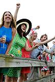 USA, Tennessee, Nashville, Iroquois Steeplechase, spectators cheer on race number three