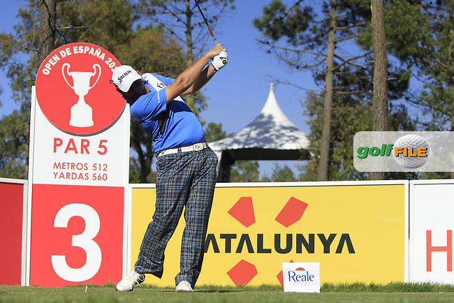 Jamie McLeary (SCO) on the 3rd tee during Thursday's Round 1 of The Open De Espana at The PGA Catalunya Resort. 15th May 2014.<br /> Picture:  Thos Caffrey / www.golffile.ie