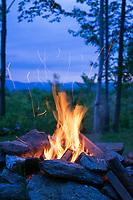 Campfire at summer cabin in Shrewsbury, Vermont.