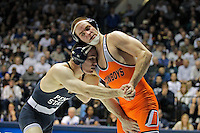 STATE COLLEGE, PA - FEBRUARY 16: Matt Brown of the Penn State Nittany Lions during a 174 pound match against Chris Perry of the Oklahoma State Cowboys on February 16, 2014 at Rec Hall on the campus of Penn State University in State College, Pennsylvania. Penn State won 23-12. (Photo by Hunter Martin/Getty Images) *** Local Caption *** Matt Brown;Chris Perry