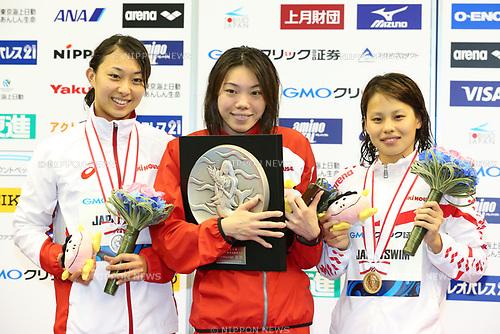 (L-R) Satomi Suzuki, Reona Aoki, Sakiko Shimuzu, <br /> APRIL 16, 2017 - Swimming : <br /> Japan swimming championship (JAPAN SWIM 2017) <br /> Women's 200m Breaststroke Victory Ceremony <br /> at Nippon Gaishi Arena, Nagoya, Aichi, Japan. <br /> (Photo by Sho Tamura/AFLO SPORT)