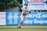 Delmarva Shorebirds shortstop Ryan Mountcastle (4) on defense against the Kannapolis Intimidators at Kannapolis Intimidators Stadium on June 23, 2016 in Kannapolis, North Carolina.  The game was suspended in the bottom of the 4th inning due to rain.  (Brian Westerholt/Four Seam Images)
