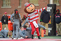 College Park, MD - NOV 12, 2016: Ohio State Buckeyes mascot Brutus celebrates an Ohio State touchdown during game between Maryland and Ohio State at Capital One Field at Maryland Stadium in College Park, MD. (Photo by Phil Peters/Media Images International)
